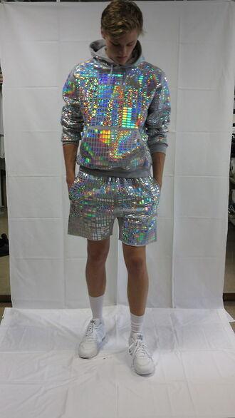 clothes shirt pants shorts jacket white fashion hoodie holographic boy