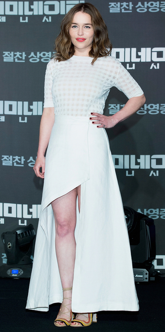 dress gown high-low dresses asymmetrical emilia clarke sandals