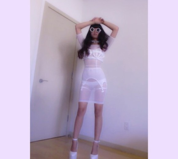 goth hipster tumblr tumblr girl creepyyeha pastel goth lingerie all white everything blooger mesh bondage mesh dress white white dress
