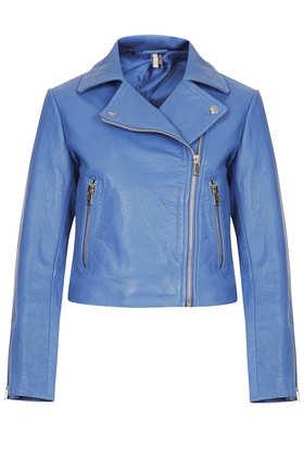 Boxy Leather Biker Jacket- Topshop