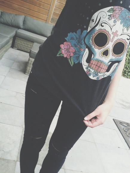 skull black sugar skull colorful