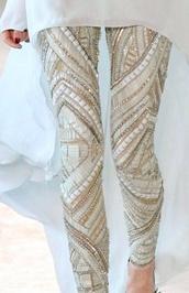 pants,sequins,leggings,white,gold sequins,gold