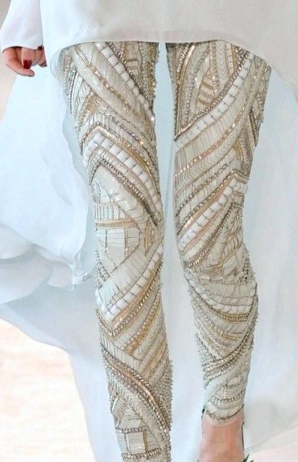 pants sequins leggings white gold sequins gold