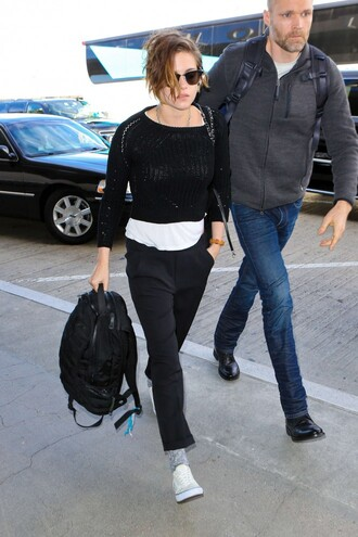 cropped sweater kristen stewart sneakers black sweater sweater shoes