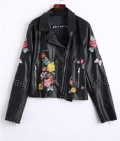 jacket,embroidered,girly,black,leather,leather jacket,floral,flowers,biker jacket