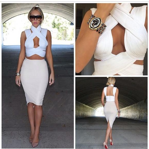 bandage dress cleavage crisscross top