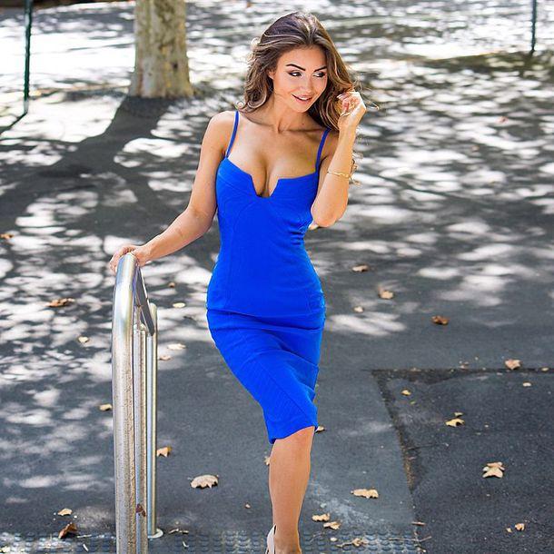 Dress: sexy, navy dress, decoltè, blue minidress, dress cocktail ...