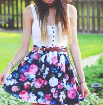 tank top floral flowers crop tops bustier bralette white roses black belt necklace bracelets clothes skirt