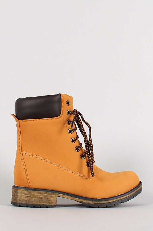 Lauren-01 Lace Up Work Ankle Bootie
