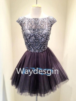 Free shipping hot sale short beaded high neck open back dark grey tulle prom dress homecoming dress party dress