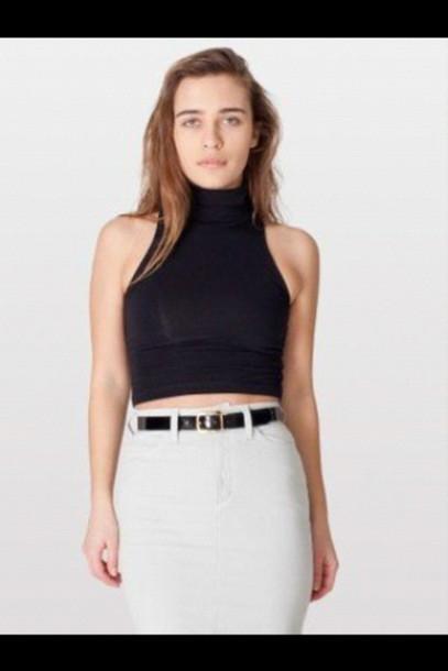 cef50ca930 shirt black turtleneck crop tops sleeveless summer cute top cute