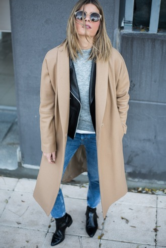 ms treinta blogger coat sweater jeans shoes bag beige coat winter outfits black leather jacket ankle boots