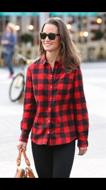 blouse black red camicia oversized loose shirt top