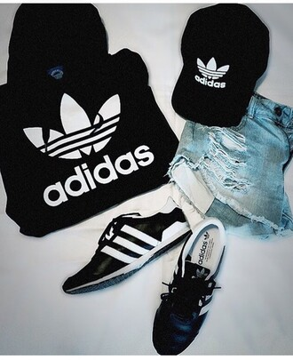 shoes adidas stripes black white sneakers sporty girly outfit