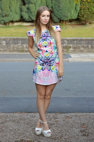 happylike colorful dress chic stylish blue pink green purple white shift dress