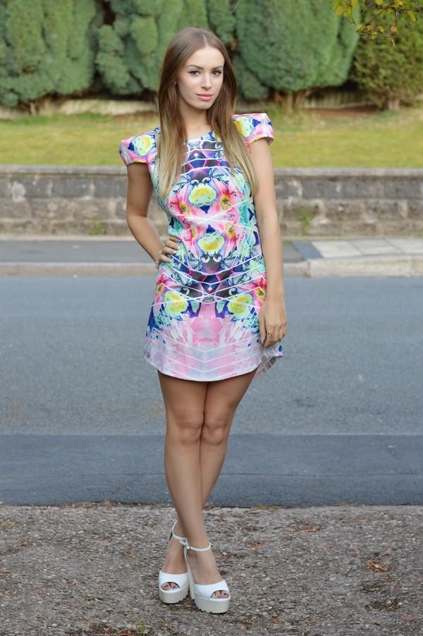 happylike colorful dress chic stylish blue pink green purple white shift dress