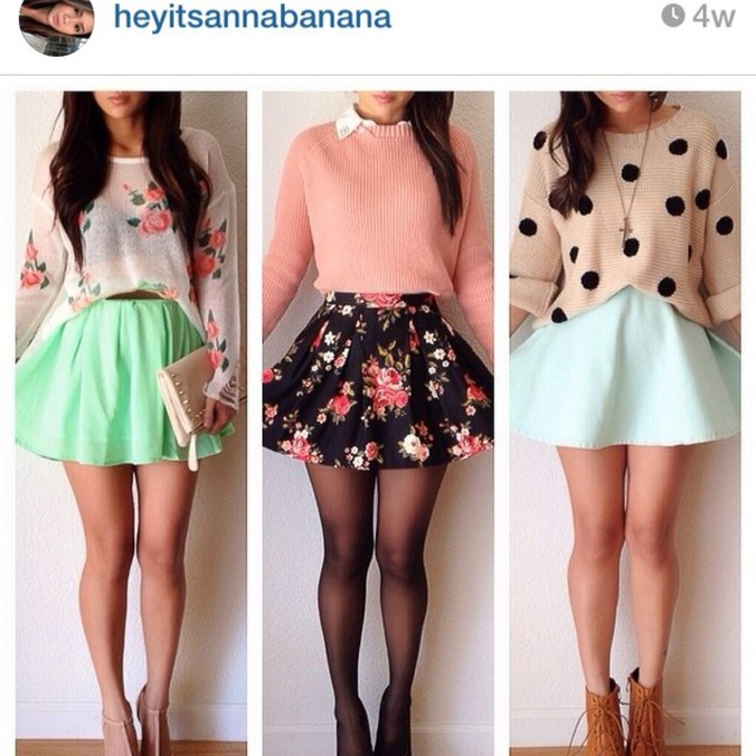 skirt summer outfits floral top sweater girly spring skater skirt floral skirt knit sweater polka dot sweater outfit middle picture the middle