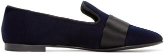 loafers navy velvet shoes