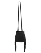 bag,black suede fringe bucket bag,leather bag,fringed bag,suede fringe bag,pixiemarket