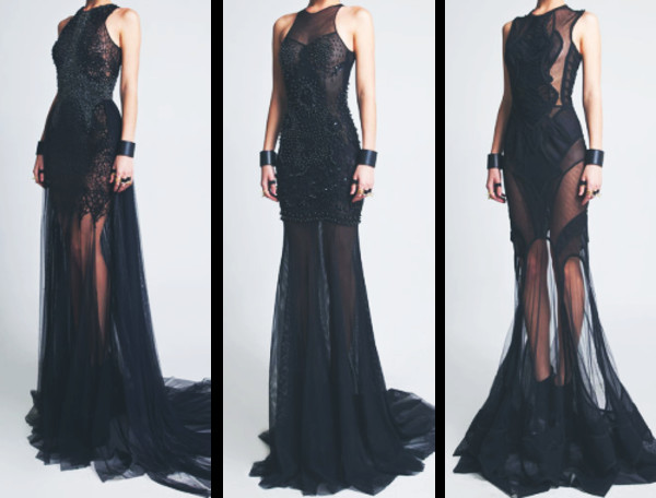 dress black long mesh sequins tight brand collection dark black dress