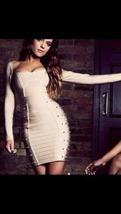 dress,bodycon dress,beige dress,spikes,bandage dress