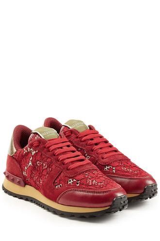 sneakers lace leather red shoes