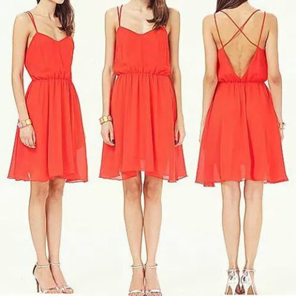 orange dress dress orange summer dress summer outfits straps open back feminine women party long white prom dress