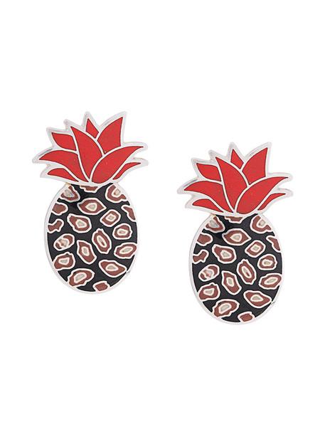 Silhouette women pineapple earrings grey metallic jewels