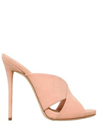 sandals suede light pink light pink shoes