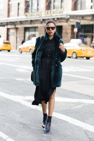 style me grasie blogger dress coat shirt shoes fur coat midi dress ankle boots