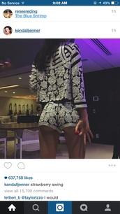 jacket,kardashians,kendall jenner,embroidered,romper,black playsuit,shorts,embellished,2 piece short set,suit,silver,kendalljener,short,black,white,dress,two-piece