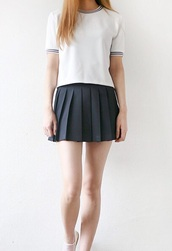 shirt,pale,kawaii,teenagers,anime,school girl,stripes,skirt,black,white,top