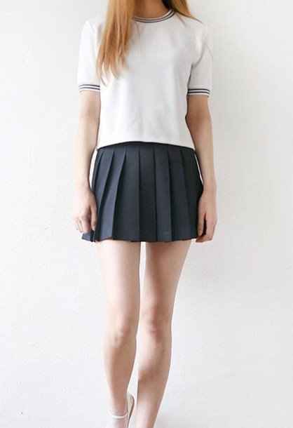 shirt pale kawaii teenagers anime school girl stripes skirt black white top