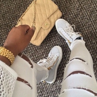 shoes white zip sneakers sneakers white jeans