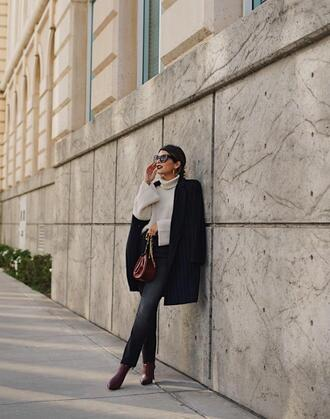 coat tumblr blue coat sweater knit knitwear knitted sweater denim jeans black jeans boots turtleneck turtleneck sweater sunglasses bag