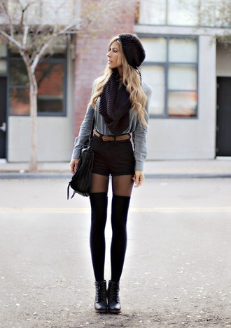 hat shorts bag sweater grey sweater black bag socks high socks knee high socks fashion girl fall sweater belt shoes high waisted jeans