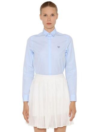 shirt embroidered cotton light blue light blue top