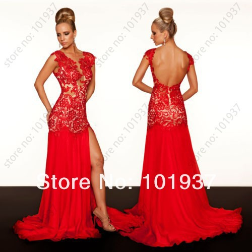 Customized Sexy Front Slit Red Open Back Evening Gown Court Train Real Sample Red Lace Evening Dress 2013 New Arrival 61041R-in Evening Dresses from Apparel & Accessories on Aliexpress.com