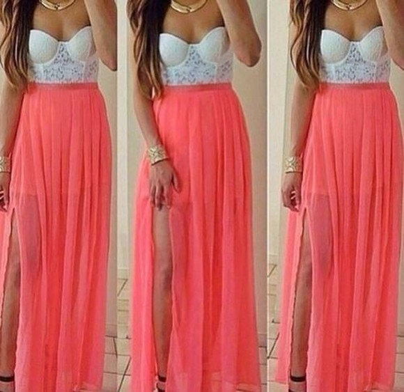 skirt glam light pink bralette corset bustier maxi skirt slit skirt one slit jewels style corail bralette tops