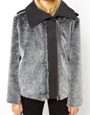 ASOS   ASOS Faux Fur Jacket By Marcel Ostertag at ASOS