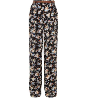 Black Floral Print Belted Wide Leg Trousers