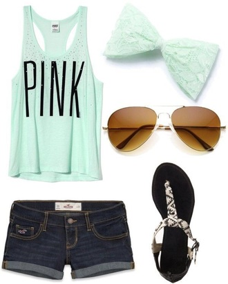 shirt mint tank top pink by victorias secret
