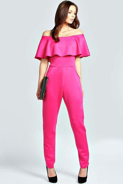 jumpsuit pink fold over off the shoulder fuchsia