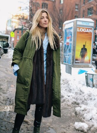 coat nyfw 2017 fashion week 2017 fashion week streetstyle green coat scarf fur scarf top blue top boots black boots winter coat winter outfits winter look