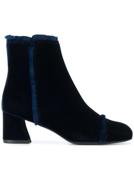 STUART WEITZMAN women ankle boots leather blue velvet shoes