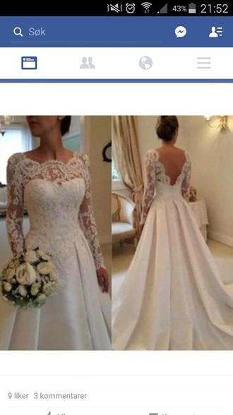 dress wedding white sleeves lace