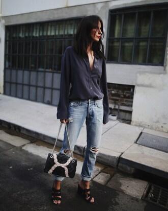 shirt tumblr blue shirt denim jeans blue jeans ripped jeans sandals sandal heels high heel sandals black sandals bag cheryl cole spring outfits