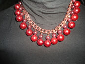 jewels,h&m,bib,statement,necklace,red,berry