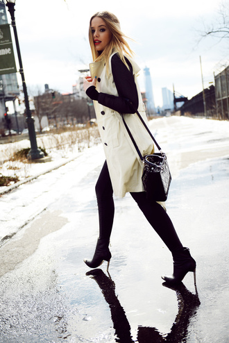 kayture coat shoes pants jewels bag shirt two tones two fabrics black and white coat