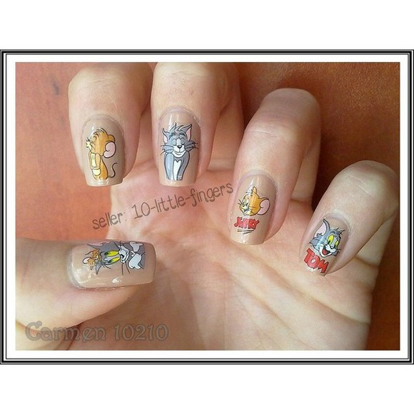 nail polish manicure color nail art nail polish nail accessories tom jerry cartoon silver stickers diy diy hair feathers Nails